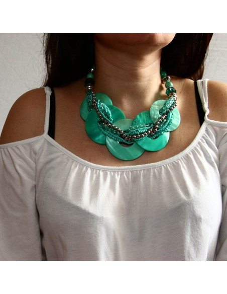 collier large vert turquoise